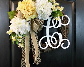 Burlap Wreath Hydrangea Door wreaths Burlap wreath Hydrangea Sspring wreath for Summer wreaths for door - Wreaths Grapevine wreath