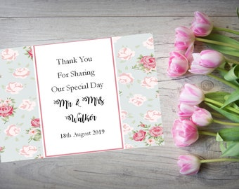 Personalised Wedding Thank You Cards with Matching Envelopes Pack Of 10 TY85