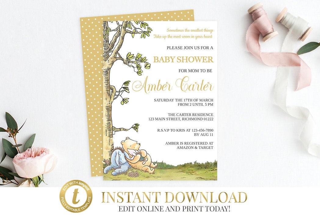 Winnie the Pooh Invitation, Classic Pooh Invitation, Baby Shower ...