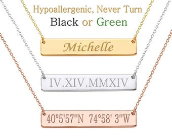 Bar Necklace, Custom Coordinates, Sorority Necklace, Custom Name Necklace, Monogram Necklace, Greek Letters, Initials, Bridesmaid Gift
