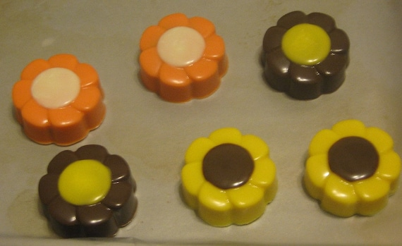 Multi color spring flower chocolate covered sandwich cookies