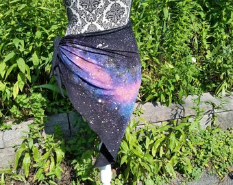 Galaxy hip wrap , triangular scarf,glow in the dark ,cosmic ,stars, dance wrap