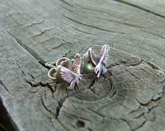 Petite Sterling Silver Post Swooping Eagle Earrings