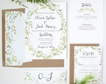 Greenery Wedding Invitations - Vine - Wedding Invitations - Timeless Garden Collection Deposit
