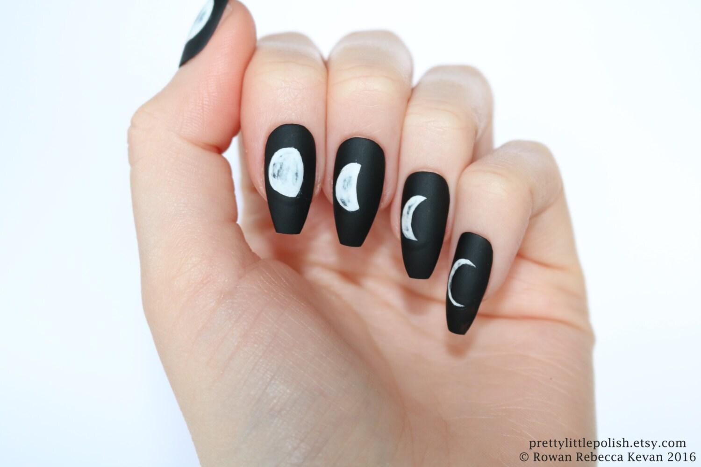 Moon phase stiletto nails, Stiletto nails, Fake nail, Stiletto nail ...