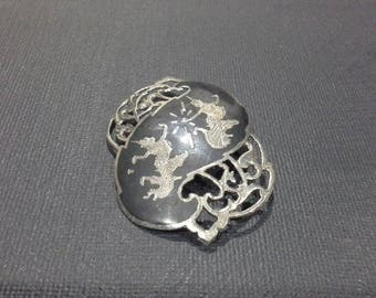 Vintage Siam Sterling Silver Niello Brooch Mekkala and Ramasoon c 1940's Gods of Thunder & Lightening