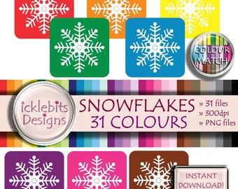"31 x Snowflake Clip Art ~ ""SNOWFLAKE #2"""" ~ Christmas Digital Clip Art ~  Winter Clip Art ~ PU and Cu Scrapbooking ~ Rainbow ~ Design #123"