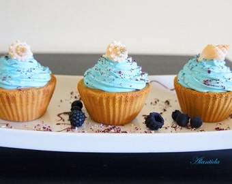 Cupcakes with Shells,Fake Cupcake,Faux Cupcake for Kitchen Decor,Shower Favour,Display Dessert