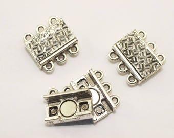 10 Sets Antique Silver 3 Holes Multi Strand, Brazil Bracelet Multi Strand clasp, 16,5mm, 3 holes magnetic clasp, large clasp, MCH3