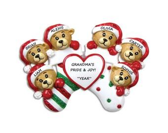 Personalized Grandma/Grandpa's Ornament with 6 Grandkids - Personalized Stocking Bear Family of 6 - Grandparents Ornament 6 Grandkids