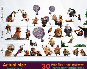 Up Movie clipart -  Digital 300 DPI PNG Images, Photos, Scrapbook, Cliparts - Instant Download