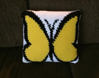 Crocheted Yellow Butterfly Pillow