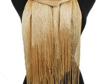 Women's Scarves Mother of the Bride Gold Metallic Scarf Cover Up Wrap With Fringes Bridal Accessories Evening Prom Shawl Sparkly