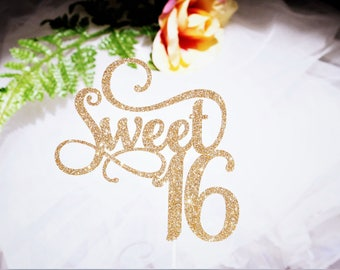Sweet 16 Cake Topper, Sweet 16 Birthday, Sweet 16 Party, Glitter Sweet 16 Topper, Sweet 16 Gold!