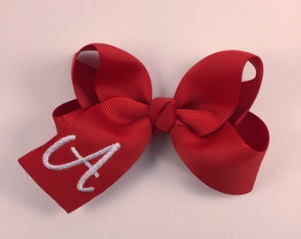 Inital hair bow 3 inches / monogram hair bow /personalized hair bow /red and white hair bow