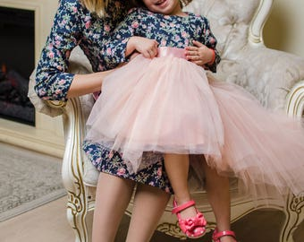 Mother daughter matching cotton denim dresses, Knee length floral print Mommy  and Me outfits Mom baby dresses, party tutu dress