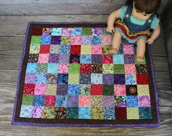 Scrappy Flowered Doll Quilt Deep Purple Chocolate Brown Light Blue Bright Red Autumn Wall Hanging 21 x 25 - US Shipping Included