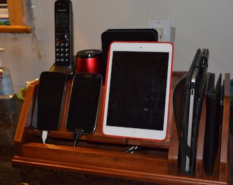 Phone Charging Station for multiple phones and tablets. Solid wood, custom designed for your decor.