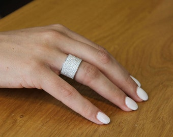 Wide Band Ring, 18K White Gold Wedding Band, 2.2 TCW Diamond Wedding Ring, Womens Wedding Band, Wide Diamond Band