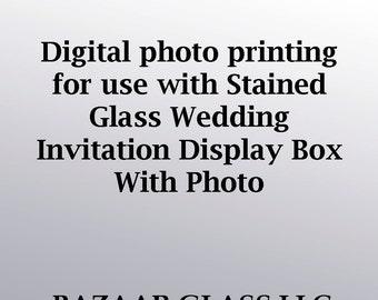 Tirage photo numérique destiné aux vitraux mariage Invitation présentoir avec Photo