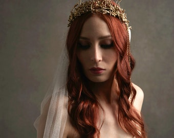 Gold bridal crown, ivory wedding veil, gilded wedding headpiece, cathedral length veil, golden tiara, circlet, hair accessories - Celeste
