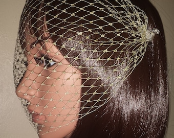 "Gold Glittering Bandeau birdcage Brides 9"" veil. Diamante pearl pins. FREE UK POSTAGE"