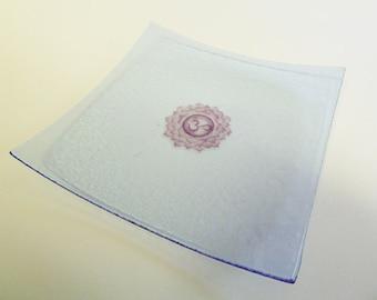 Lavender purple fused glass bowl with crown chakra symbol om sahasrara illustration