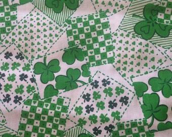 Green Clover Cotton Quilting Fabric Irish Ireland St Patrick's Day