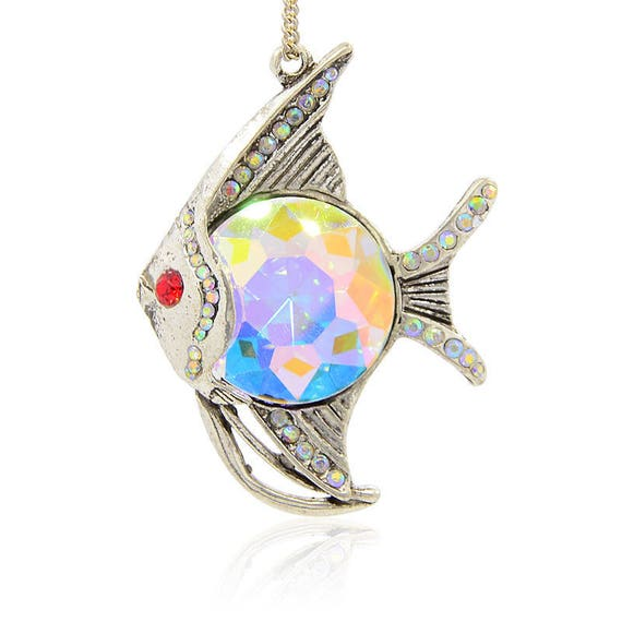 Pendant fish exotic 61 mm silver aged rhinestones and Cabochon Crystal AB x 1