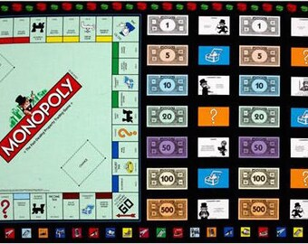 """Monopoly Fabric, Game Night:Mr. Monopoly Game board Panel By Quilting Treasures 100% cotton fabric by the Panel 23.5""""x44"""" (Qt478)"""