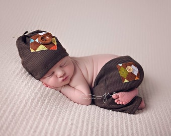 Newborn boy pant set, newborn photo prop, photography prop, pant and hat for newborn boy, brown baby pant set, newborn pant set