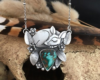 Fawn Necklace, Sleeping Fawn Pendant, Deer Necklace, Cute Deer, Deer Pendant