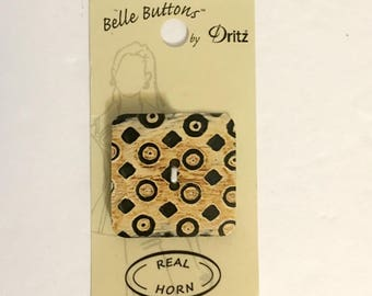 Belle Buttons By Dritz Horn Button Large 50mm ( 2 inches) Square Beige Brown Black Natural Buttons