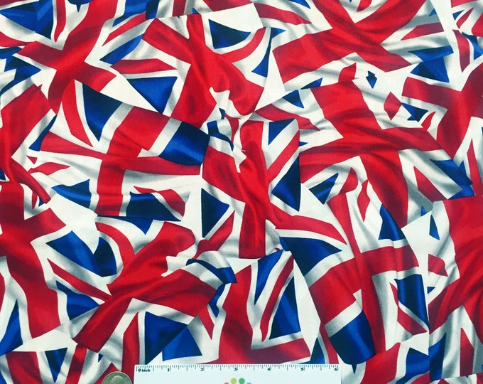 "14"" BRITISH FLAG Red White Blue Cotton Quilt Fabric - Last Piece 14"" x 45"" Fat Quarter Fq London Flags Uk England United Kingdom"