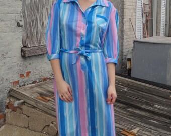 Vintage 70s Striped Day Dress - Tie Belt