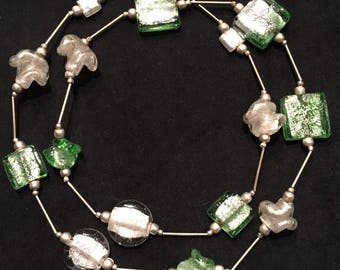 Vintage 80's White and Green Glass Beaded Necklace • from Kenya • Geometric and Scrunched Beads - Metallic on the Inside • Silver Tube Beads