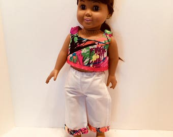 """DO25- 18"""" Doll Clothes: Two piece outfit with capri pants and matching top"""