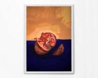 "Pomegranate Acrylic Painting Print, Canvas Print, Wall Art up to 40x60"", Classic Spanish still life, Kitchen interior decoration, fruit"