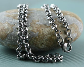 Heavy Sterling Chain Necklace, Mens Womens Sterling Silver, 4mm Rolo, 16, 18, 20 Inch, Pendant Charm Rustic, Antique Patina, Bright, Belcher