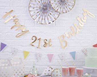 Gold Happy 21st Birthday Banner, 21st Birthday Bunting, 21st Birthday Party Decorations, Birthday Decorations, Party Decorations