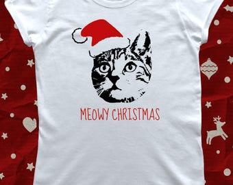 Christmas Cat Lady Meowy Funny Christmas T-Shirt
