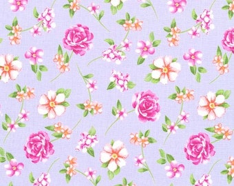 Michael Miller Fairy Frolic Floral, lilac and pink cotton fabric, floral fabric, 100% cotton,