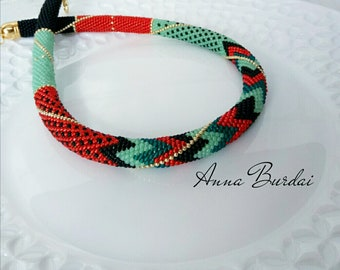 Bead crochet rope Mint beadwork necklace Mint Green necklace Red-orange jewelry Seed bead necklace Summer necklace Color block necklace