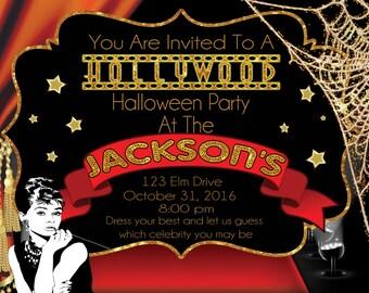 Hollywood Halloween Theme Invitation (Digital File)
