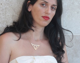Triangles Necklace, Gold Geometric Necklace, Geometric Pendant, Gold Triangles Charm, Art Deco Necklace, Dominant Geometric Jewelry