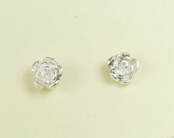 Rose earrings-Flower earrings, Sterling silver stud earrings, Sterling silver jewelry