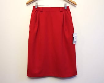 Vintage Hot Red Skirt Wool Blend Knee Pencil Skirt Pleated Pencil Skirt Red Tulip Skirt High Waisted Skirt Extra Small Size