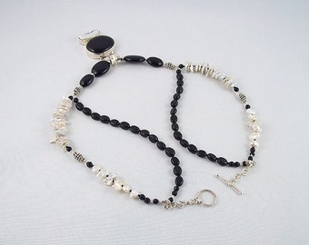 Black Onyx/White Baroque Pearl 2-Strand Silver Necklace