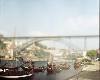 Douro River, Porto, Bridge, Signed Photography, Giclee Print, Limited Edition, Analog, Square Format, Small or Large Art, Cityscape, Boats