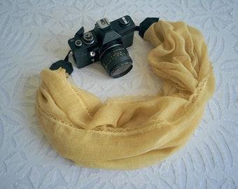 Scarf camera strap Fabric camera strap Cotton lace camera strap DSRL camera strap Canon camera strap Camera accessory Camera scarf strap